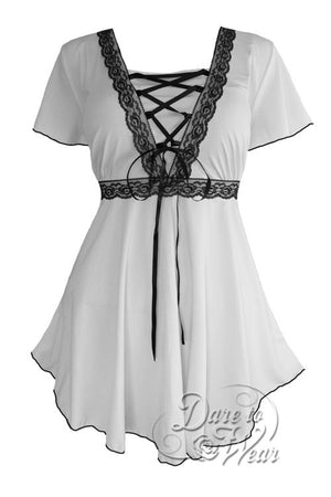 Dare To Wear Victorian Gothic Women's Plus Size Angel Corset Top White/Black