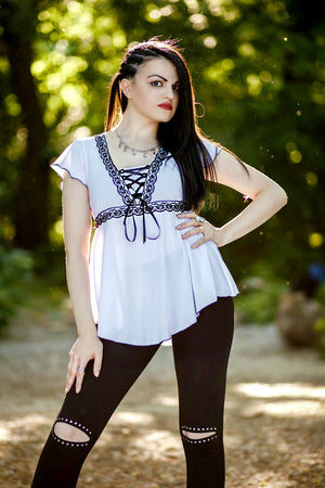 Gaelira Gwaelon in Dare to Wear Victorian Gothic Steampunk Angel Corset Top in White/Black