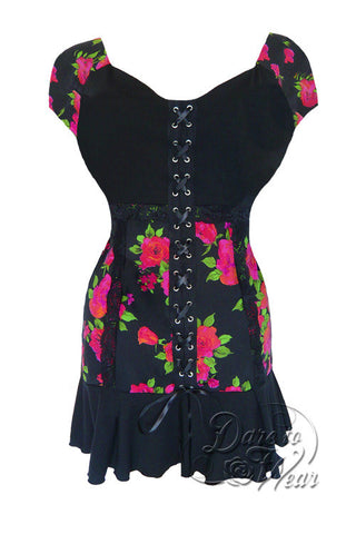 Dare To Wear Victorian Gothic Women's Short Sleeve Cabaret Corset Top Rose Noir