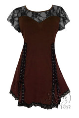 Dare To Wear Victorian Gothic Women's Roxanne Corset Top Walnut