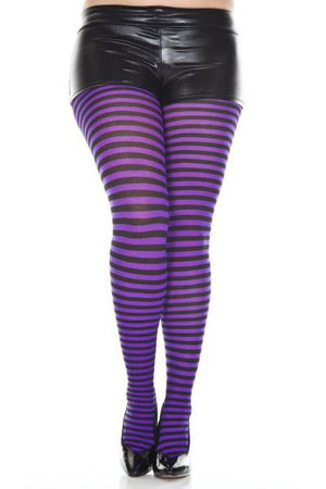 Striped Tights in Black and Purple
