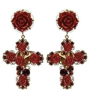 Viktoria Earrings | Red Rose