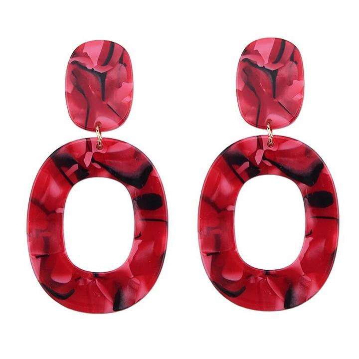 Amber Earrings | Red Pink