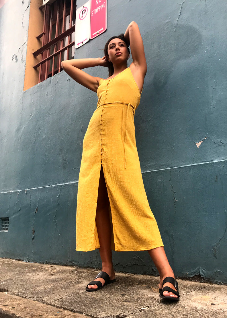 The Bowie Button Up Dress | Mustard