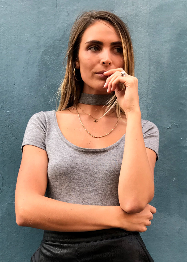 The Celine Choker Top | Charcoal