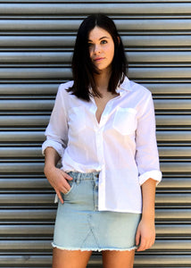 Classic Cotton Flared Sleeve Shirt | White