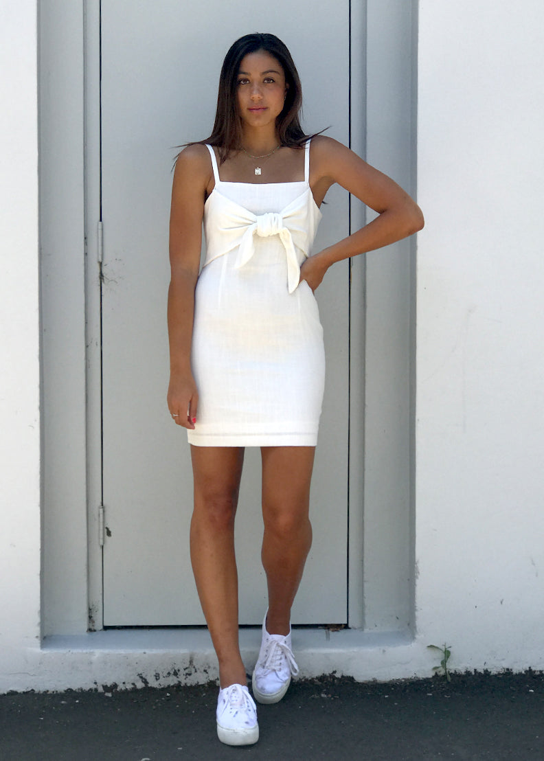 The Cold Shoulder Tie-Up Dress White