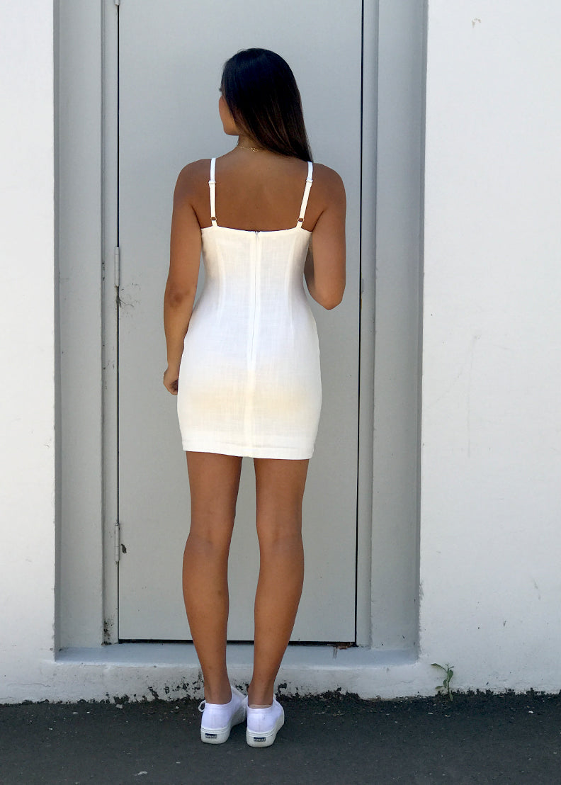 The Cold Shoulder Tie-Up Dress White Back