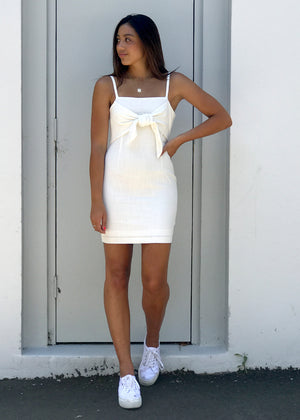 The Cold Shoulder Tie-Up Dress White Front