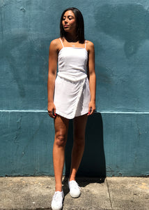 The Courtney Frayed Playsuit White