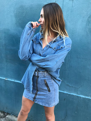 VANESSA DENIM SKIRT | BLUE