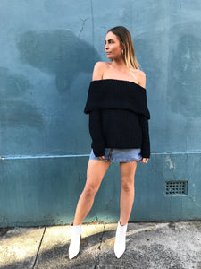 STELLA OFF SHOULDER KNIT | BLACK