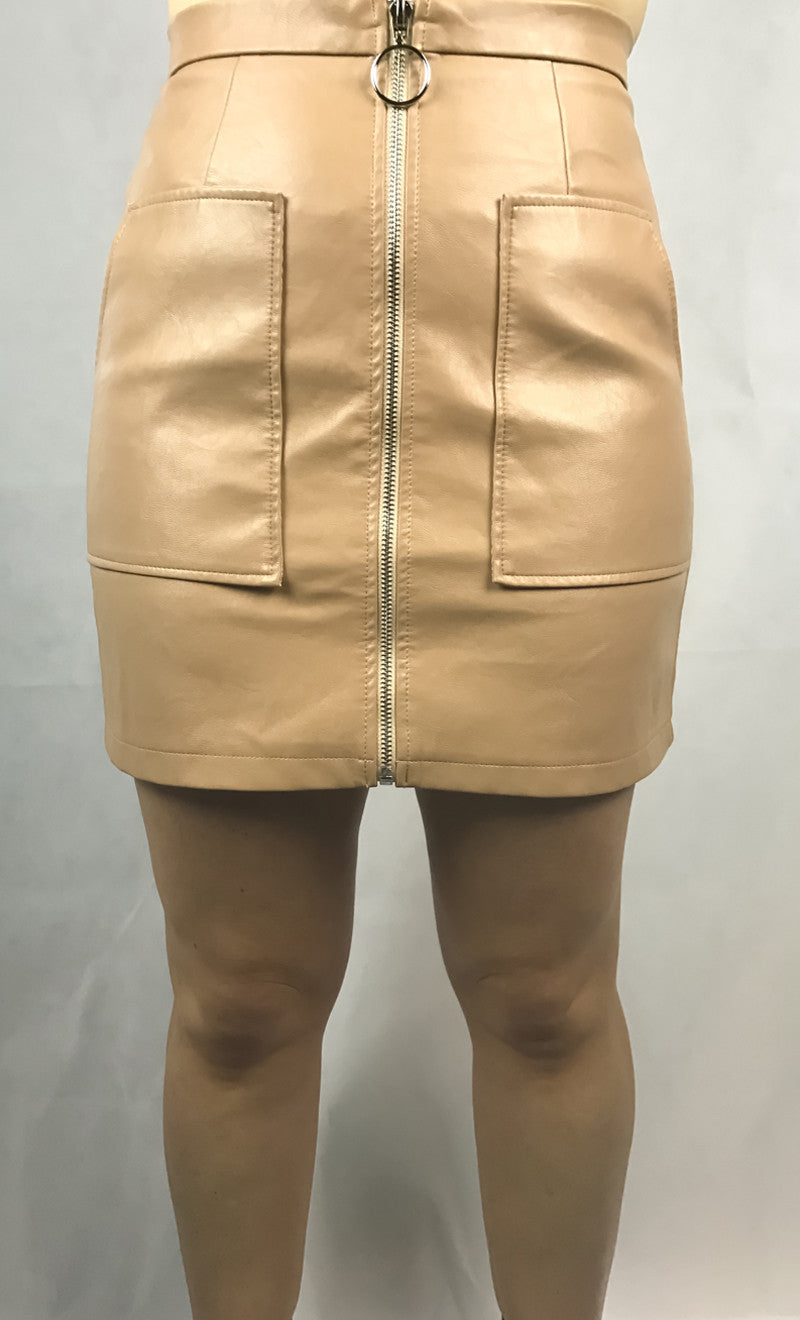 Bonnie Vegan Leather Skirt | Beige