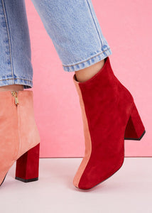 Blocked Suede Boot | Cranberry