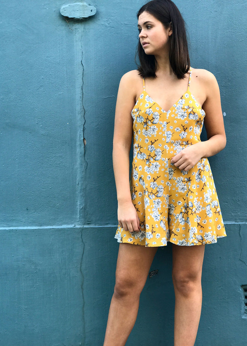 The Minx Floral Playsuit | Mustard