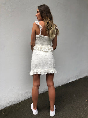 Ava Tassel Skirt | White