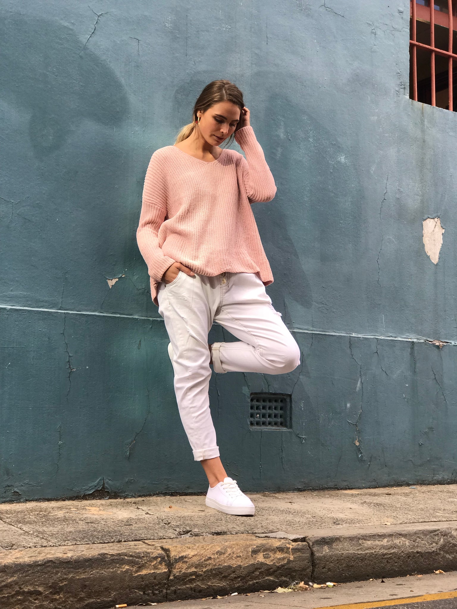 The Addison V-Neck Jumper | Blush