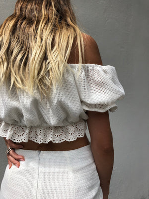 Lola Lace Crop | White