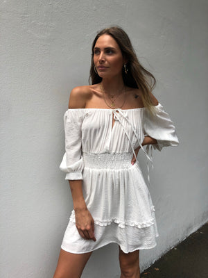 Luciana Off Shoulder Dress | White