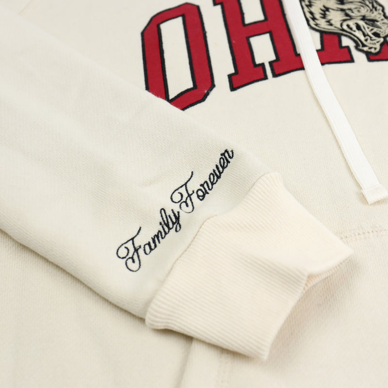 Family Applique Premium Hoodie in Cream/Red