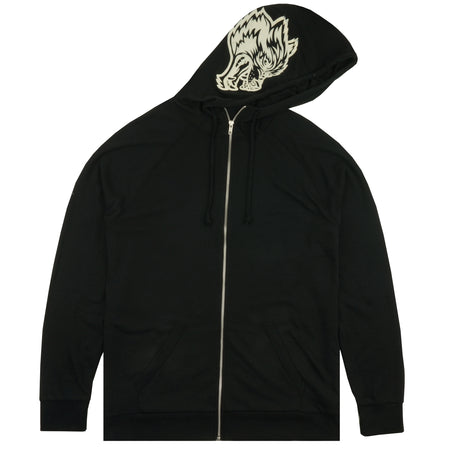 Inner Wolf Zip Up Hoodie in Black/Cream