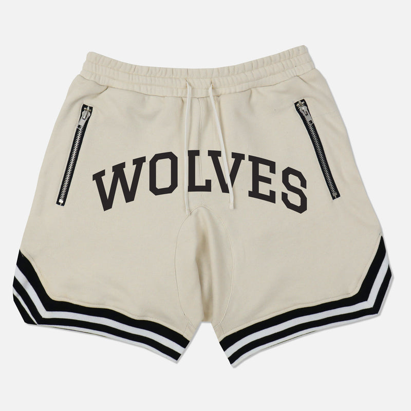 Wolves Varsity French Terry Court Shorts in Cream