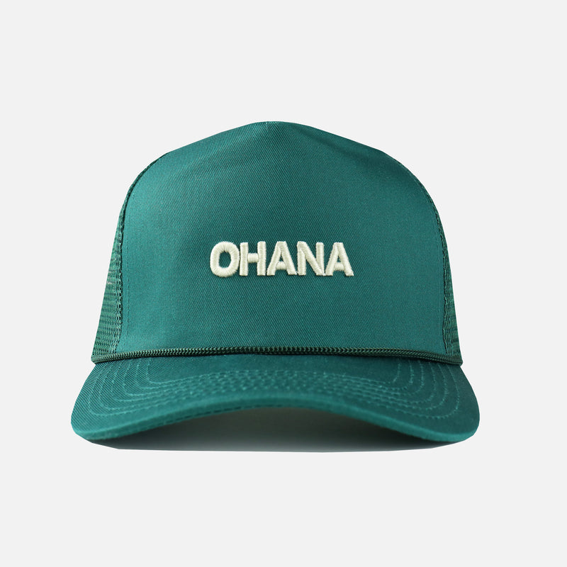 Ohana Embroidered Trucker Hat in Green