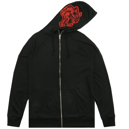 Inner Wolf Zip Up Hoodie in Black/Red