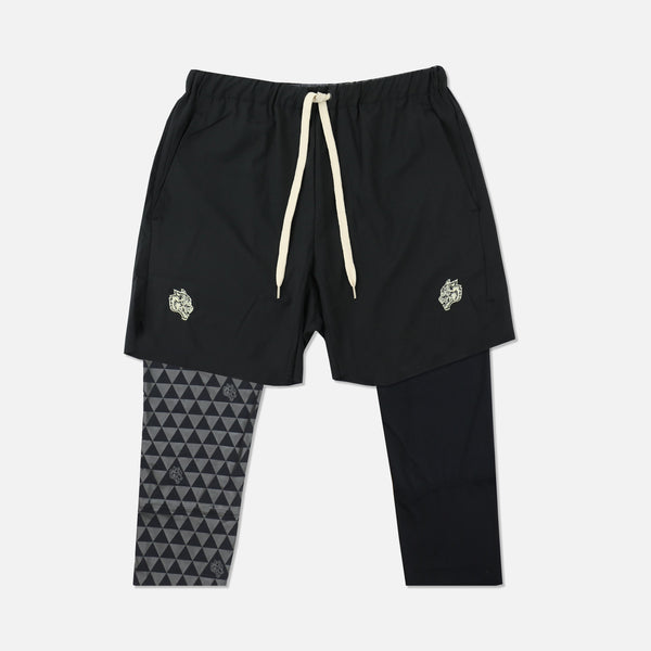 Mana 3/4 Length Compression Shorts in Black/Grey