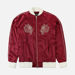 Wolves Satin Jacket in Maroon