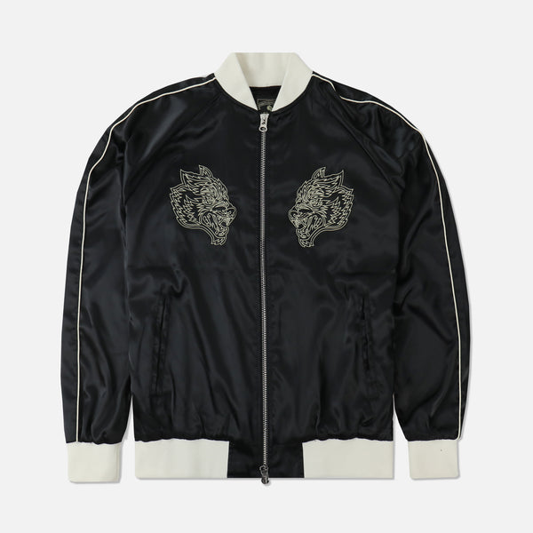 Wolves Satin Jacket in Black