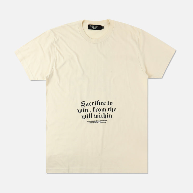 Bodybuilding Saved My Life Tee in Cream