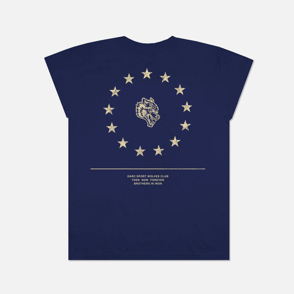 Wolf Star Cap Sleeve Tee in Navy