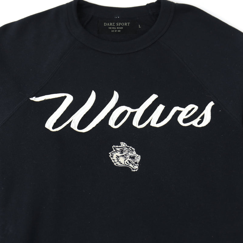 Wolves Cursive Crewneck Sweater in Black