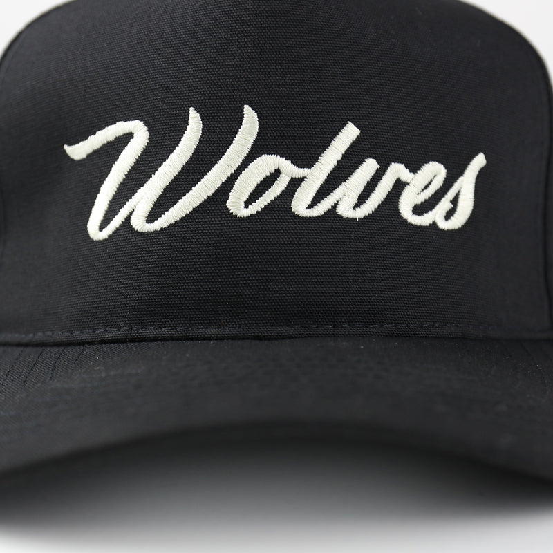 Wolves Cursive 5 Panel Hat in Black