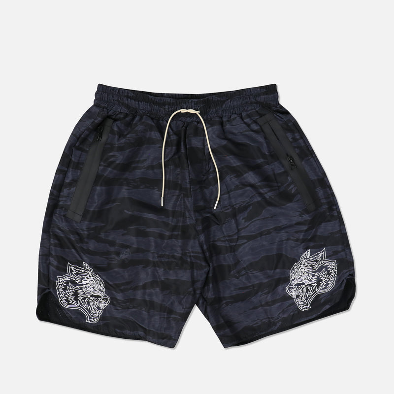 Fasted Track Shorts in Wolf Camo Black