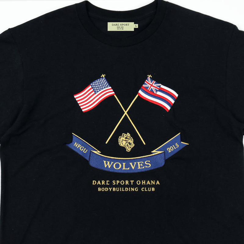 Flags Up Drop Shoulder Tee in Black