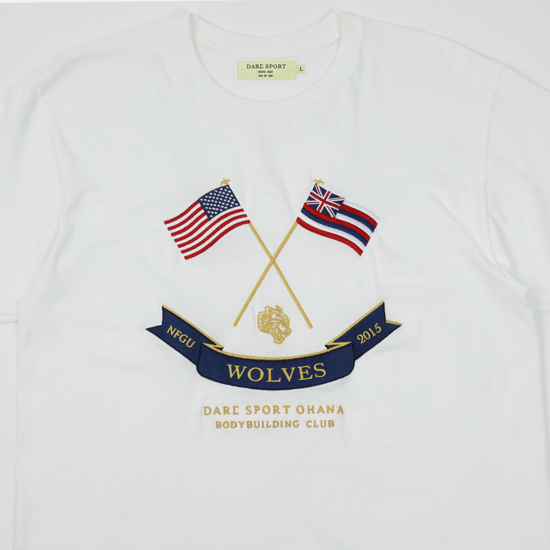 Flags Up Drop Shoulder Tee in White