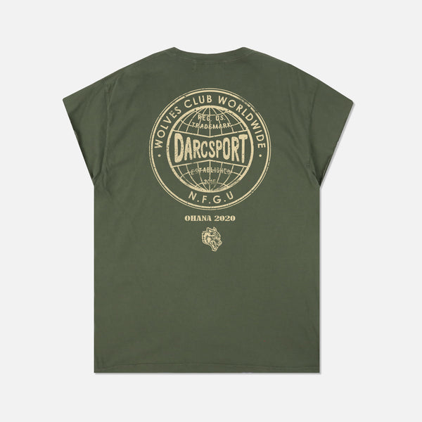 Wolves Globe Cap Sleeve Tee in Sage