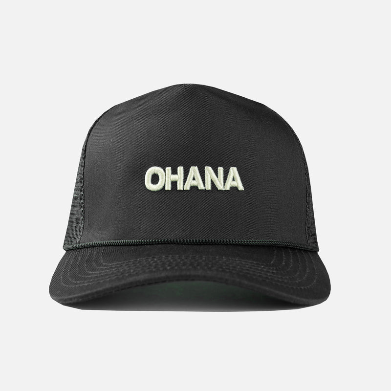 Ohana Embroidered Trucker Hat in Black