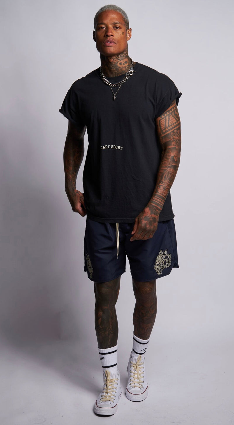 Wolves Globe Cap Sleeve Tee in Black