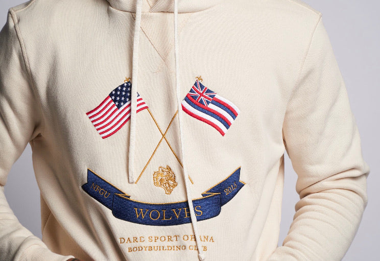 Flags Up Embroidered Premium Hoodie in Cream