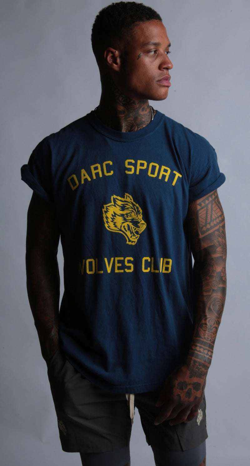 Run With Us Cap Sleeve Tee in Navy