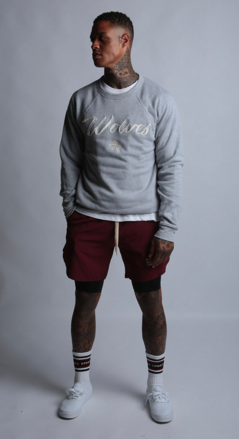 Wolves Cursive Crewneck Sweater in Athletic