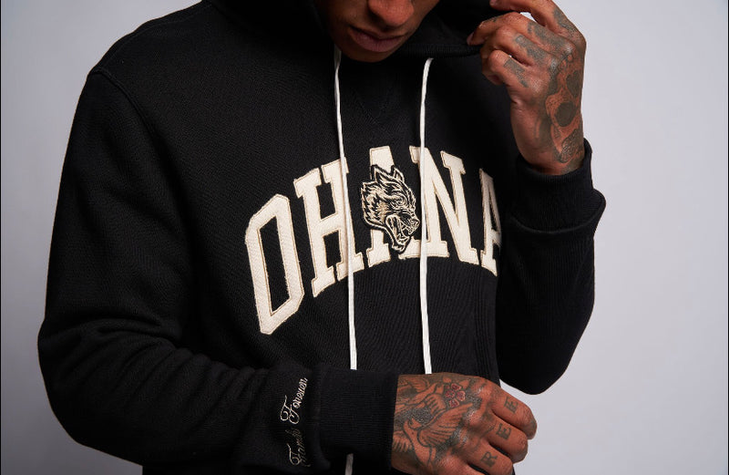 Family Applique Premium Hoodie in Black