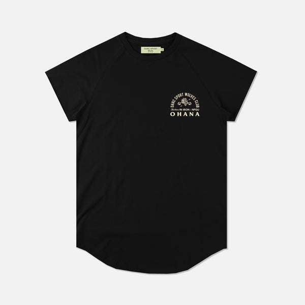 Ohana In Iron Cap Sleeve (Drop) Tee in Black
