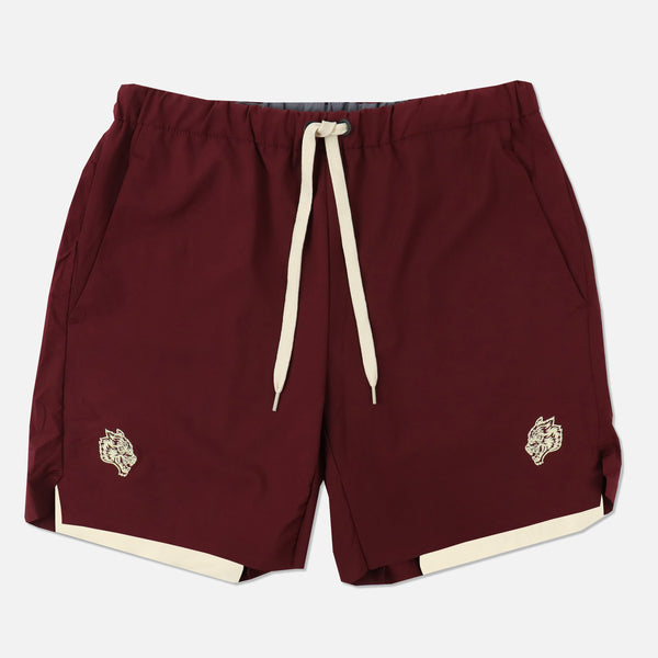 Wolves Compression Shorts in Maroon/Cream