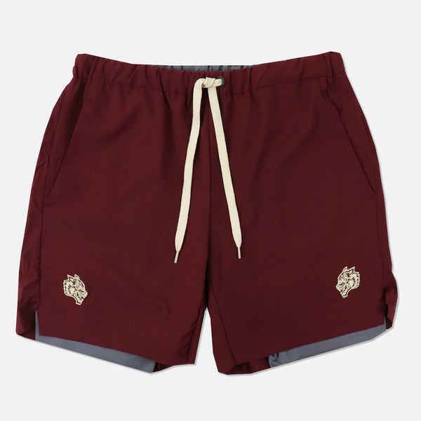 Wolves Compression Shorts in Maroon