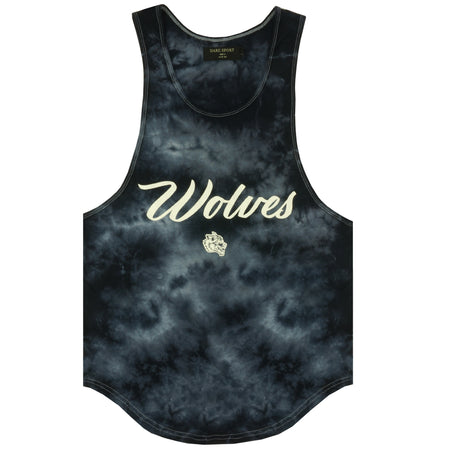 Wolves Cursive Drop Tank in Night Fog