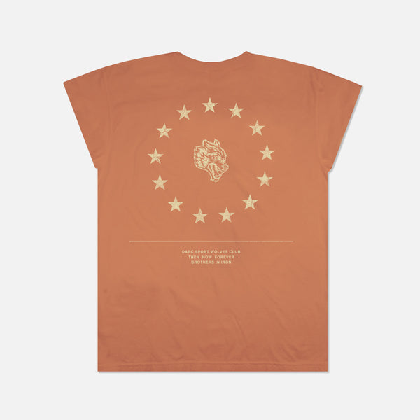 Wolf Star Cap Sleeve Tee in Pale Red